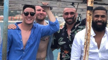 Mitchell Moses, Nathan Brown, Tim Mannah and Michael Jennings on holiday together in Lebanon in 2018.
