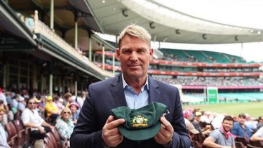 Shane Warne and his baggy green.