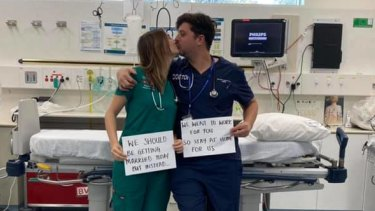 The doctor couple found out two weeks ago that their wedding would have to be on hold due to social distancing measures and closed borders.