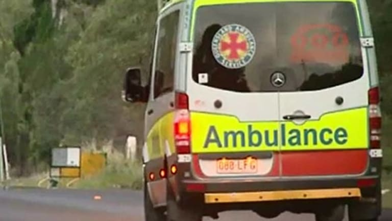 An ambulance has taken an injured cyclist to Princess Alexandra Hospital.