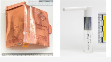 Images of the 'perfume' bottle and the bottle with adapted nozzle allegedly related to the Skripals poisoning in Salisbury.