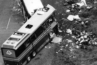 The aftermath of a head-on collision between two buses at Kempsey 30 years ago.