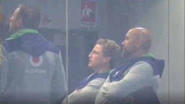 Brett Finch in the Warriors' coaching box.
