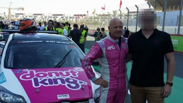 Former RFG chief executive Tony Alford (left) in his Donut King race suit.