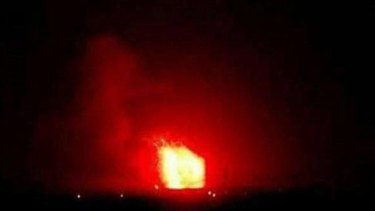 The Syrian government agency SANA shows what are reported to be rocket strikes upon military bases on April 29.