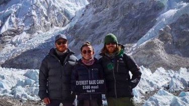 Mark Firkin, Jolie King and Mitch Firkin at Everest Base Camp.