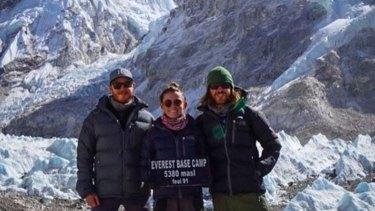 Mark Firkin, Jolie King and Mitch Firkin at Everest Base Camp.