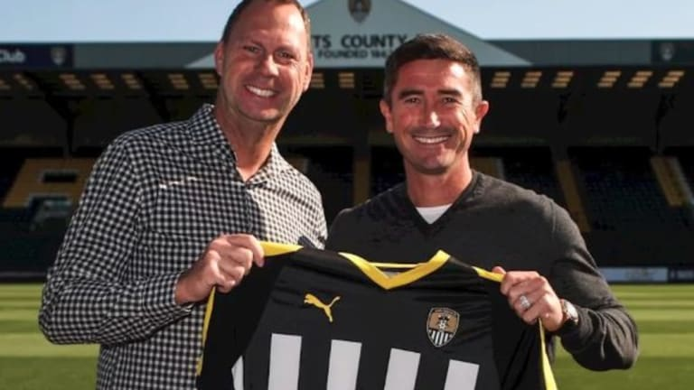 Happier times: Club chairman Alan Hardy (left) with Harry Kewell (right) when the former Socceroo became Notts County manager.