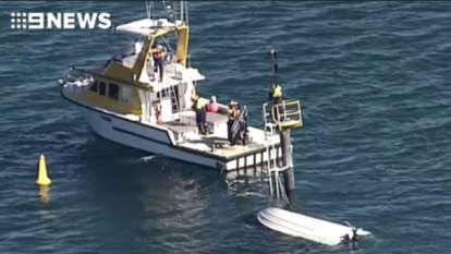 Cruiser barely afloat after high-speed crash into Moreton Bay beacon