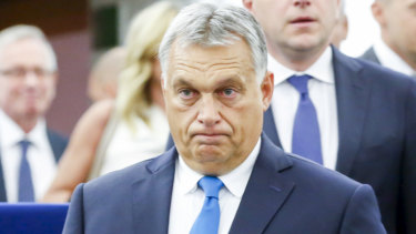 Hungarian prime minister Victor Orban confronts the European Parliament during a debate over his country's respect for human rights.