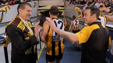 Jeff Kennett with Hawthorn coach Alastair Clarkson in a 2012 preliminary final against Adelaide.
