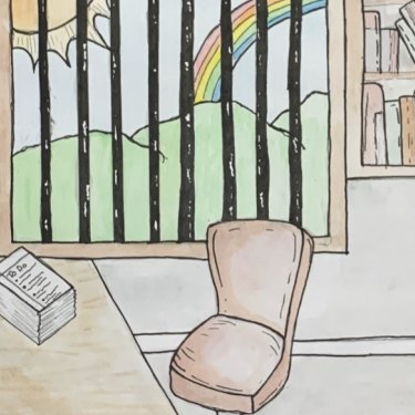 Drawing of learning at home by Hannah Lemon, year 9.