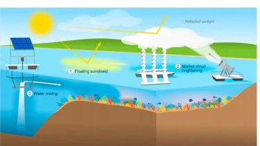 Funding has been awarded for feasibility studies of three geoengineering technologies to protect the reef: (1) a 'floating sunshield' of reflective surface film made of calcium carbonate to reflect sunlight and lower water temperatures; (2) marine cloud brightening; and (3) water mixing.