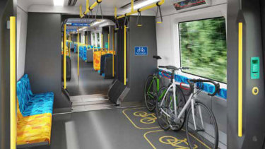The new designs for the X'Trapolis train includes more bicycle storage.