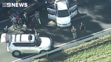The end of the alleged car thief's joyride on the Bruce Highway at Nambour.