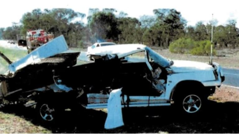 The Triton dual cab 4WD ute Tony Webb was driving when he was hit by a truck in 2007.