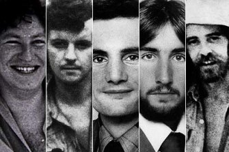 Balibo victims ... Gary Cunningham, Malcolm Rennie,  Greg Shackleton, Tony Stewart and Brian Peters.