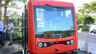 The driverless bus will travel a set 3.5km route on the island