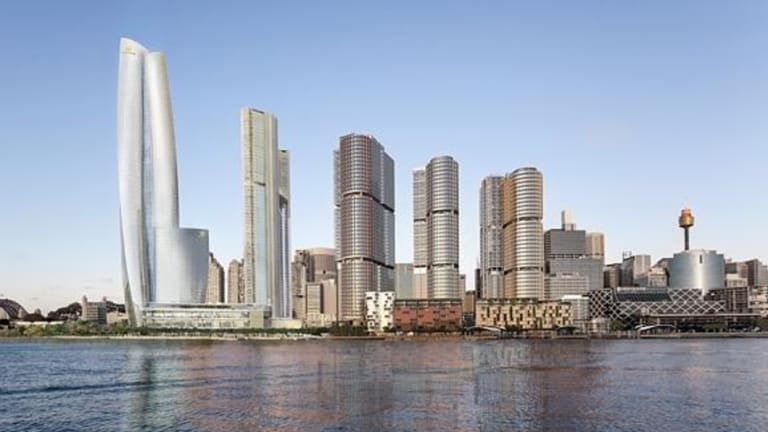 An artist's impression of James Packer's Crown Casino complex, on the far left, at Barangaroo.