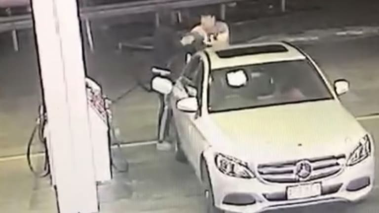 The carjackers strike at the 7-Eleven onFairfield Road in Yeronga.