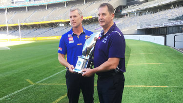 West Coast coach Adam Simpson and Fremantle counterpart Ross Lyon at Optus Stadium ahead of Western Derby 49.
