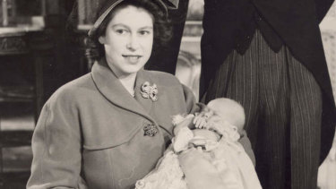 Baby Prince Charles christening at Buckingham Palace in 1948.