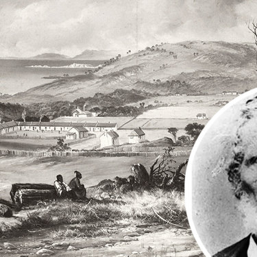 Kalloongoo finished up at the Aboriginal Station on Flinders Island in 1837 after years as a slave of William Dutton (inset).
