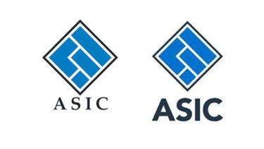 Contrast: the old ASIC logo, left, has  a serif font while the new logo, right, comes with a sans serif font.