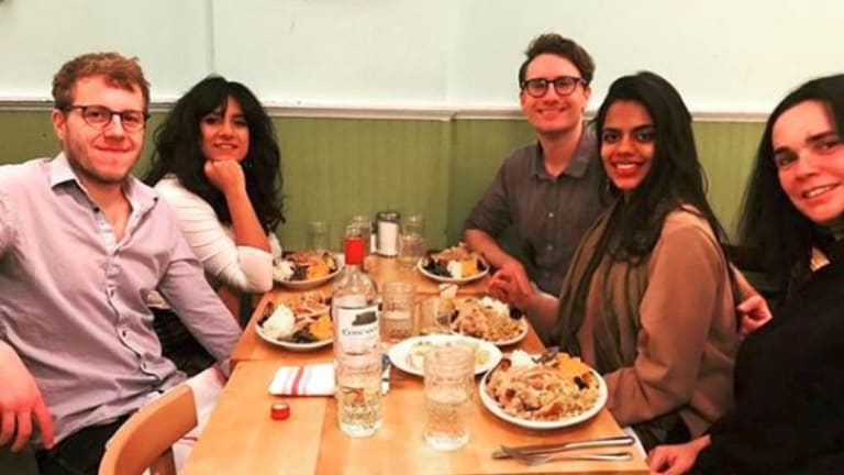 Knott, on right, at dinner last year with friends at Kitchenette in Harlem.