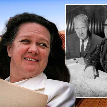 Gina Rinehart and her company Hancock Prospecting, started by her father Lang (inset far right), is defending claims to its Hope Downs iron ore tenement in the Pilbara from Wright Prospecting, started by Peter Wright (inset left).