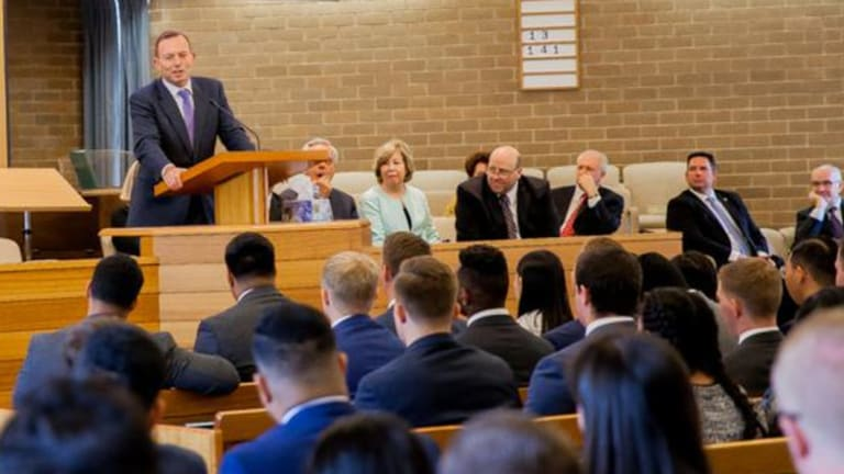 Tony Abbott meeting senior Mormons and missionaries in March