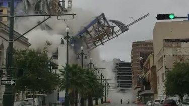 The moment the construction site for the Hard Rock Hotel collapsed on Canal Street on Saturday morning.