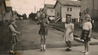 Happy place for children: Catherine Haines skipping at Bradfield Park in 1955.