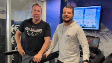Roosters coach Trent Robinson (left) in the altitude room he has been using to acclimatise ahead of climbing Mount Kilimanjaro.
