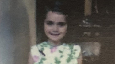 Courtney as a little girl, pictured in the memorial booklet handed to mourners.