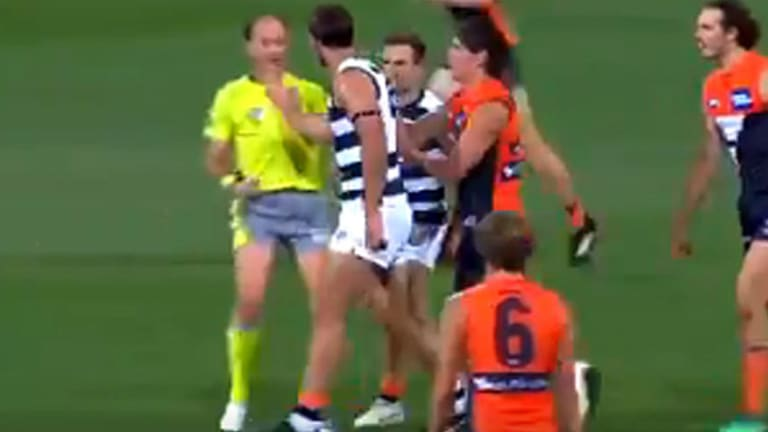 Geelong's Tom Hawkins missed a week for this incident of umpire contact.