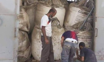 Large bags of ammonium nitrate stacked in the warehouse in Beirut.