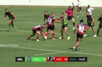 Joseph Suaalii scoring for North Sydney
