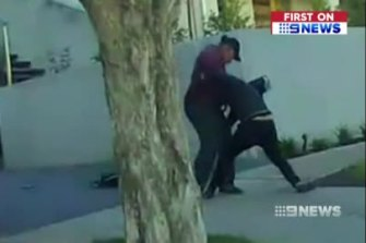 Footage of Jonathan Dick allegedly attacking his former school friend David Cammarata in Keilor last year.