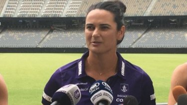 Ex-Dockers AFLW coach Michelle Cowan at Optus Stadium.