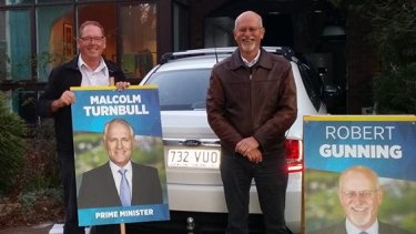 Director Bob Harrison campaigning with Liberal candidate Robert Gunning at the 2016 federal election.