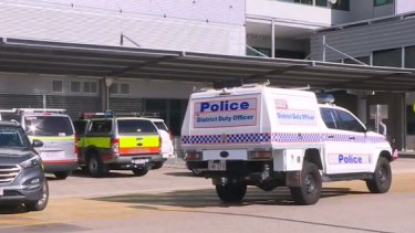 The crime scene outside Townsville University Hospital on Friday after the girl was rushed there but pronounced dead.