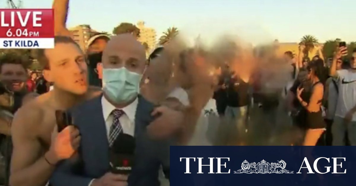 TV reporter grabbed kissed at St Kilda beach amid COVID-19 violations large gatherings – The Age