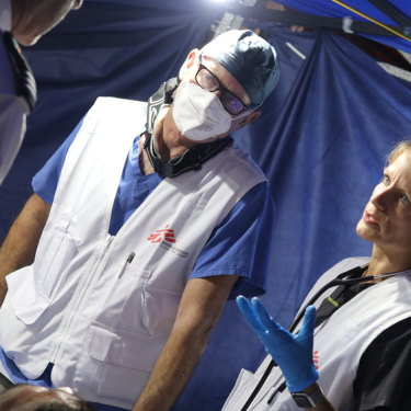 Natalie Thurtle treats patients  as Doctors Without Borders (MSF) support the Palestinian Red Crescent Society in Jerusalem, assessing hundreds of Palestinians injured by Israeli police.