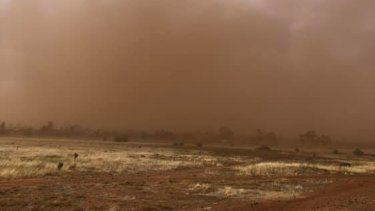 The dust from dry ground in western Victoria has been raised by gusty winds.