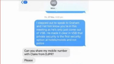 A screenshot of the text message Andrew Crisp sent to Assistant Police Commissioner Michael Grainger.