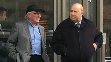 Nabil Grege, right, and co-accused, Michael Buric, left, outside the County Court.