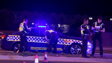 Police at the scene of a pedestrian death in Reservoir on Saturday night.