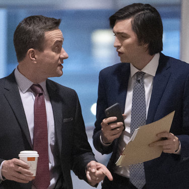 Cousin Greg (right), with Matthew Macfadyen as Tom Wambsgans, is a shining light of purity in the cutthroat world of Succession.