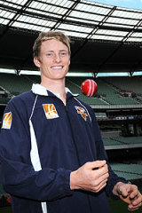 A teenage Alex Keath on the day it was announced he had signed a long-term cricket contract.